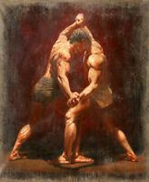 Dream-art Oil painting portraits nudes boys young strong man wrestlers on canvas