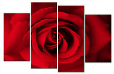 LARGE RED ROSE MULTI PANEL FLORAL CANVAS ART PICTURE