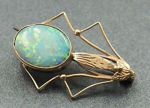 Handmade Vintage Opal Doublet Beetle Brooch 9ct Yellow Gold Fine Unique Jewelry