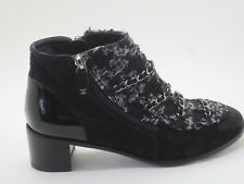 $1500 Chanel 17B Black Suede Leather Tweed CC logo Short Ancle Boots Sz 37 New