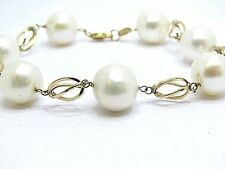 Large White Freshwater 11mm.Pearls Bracelet Y. Gold 9ct Bracelet Size 7.4 inches