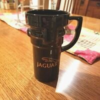 Jaguar Ceramic Automobile Travel Mug Black Gold with Lid - Non Skid Bottom