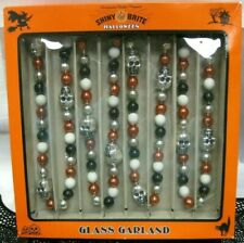 Radko Shiny Brite Glass Garland Halloween Silver Skulls New 7Ft 🎃