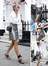 ZARA Leather High Rise Skirt Press Stugs New (RT$99.99) Metallic Silver Skirt XS