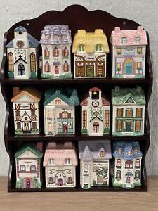 Twelve Avon Victoria Village Spice Houses Ceramic Containers Vintage & Rack NEW