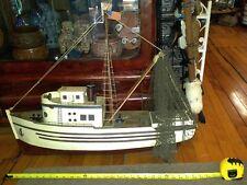 "VINTAGE WOOD FISHING SHRIMP BOAT 29""long RARE NAUTICAL SEA NETS LIFE RAFT"