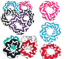 Wide Chevron Print Hair Scrunchie Scrunchies by Sherry Ponytail Holder Ties