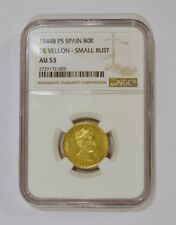 1844-B PS 80 Reales Gold Coin from Spain for Isabel graded AU53 by NGC