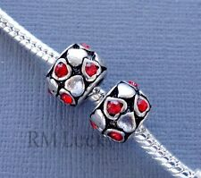 2 pcs Crystal Red Heart Charms Large hole Beads Fit European style Bracelet C85
