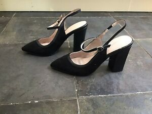 Next Black Slingback Suede Look Shoes Size UK 6.5 EUR 40 New Without Box