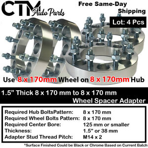 """4PC 1.5"""" THICK 8x170mm to 8x170mm WHEEL SPACER ADAPTER FIT FORD F250/F350 M14x2"""