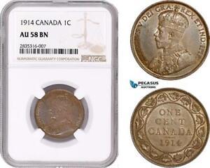 AE072, Canada, George V, 1 Cent 1914, NGC AU58BN