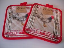 New! S/2 Old Fashioned Farm Rooster Potholders Kitchen Pot Holder Set Kay Dee