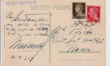 """GUERRA DI SPAGNA-13.9.1937-10c+20c IMPERIALE-UFFICIO POSTALE SPECIALE""""4""""per Roma"""