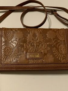 THE SAK Brown Embossed Leather Convertible Crossbody Clutch  Wallet