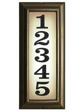 Large Vertical Lighted Address Sign in French Bronze