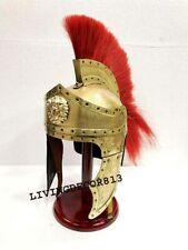 Antique Medieval Roman Centurion Helmet Armour Red Plume Gladiator Wooden Stand