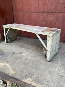 1940s Industrial White Factory Cart Bench Entryway Porch Mud Room Kitchen Loft