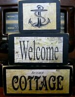 Welcome to Our Cottage Primitive Rustic Farmhouse Stacking Block Wooden Sign Set