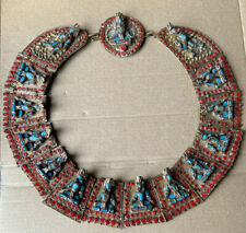 Old Heavy handmade Tibet Nepalese Shiva Coral Turquoise Glass Collar Necklace