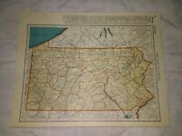 1942 Railroad Map of Pennsylvania With A Railroad Map of Oregon On The Reverse