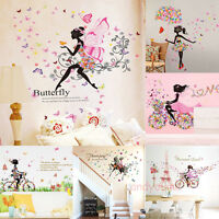 Flower Girl Removable Wall Art Sticker Vinyl Decals Kid's Room Home Mural Decor