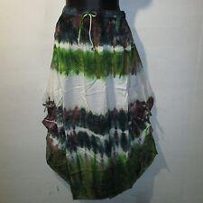 Skirt Fits XL 1X 2X Plus Green Brown Ivory Tie Dye Wood Button Hem NWT 192S EE