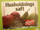 NORWAY SOFT DRINK CORDIAL LABEL, 1980s HANSA BRYGGERI BERGEN, HUSHOLDNINGS