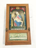 ANTIQUE JESUS & MARY Chalkware LAST RITES ALTAR SHADOW BOX Wall Art PRAYER vtg