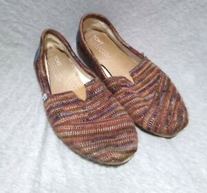 Rainbow Toms 7.5 Knit Flats Slip On Shearling Lined Multi-Color Shoes Womens