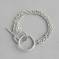 NEW Minimalist S925 Sterling Silver 2 Layers Rolo Link Chain Ring Hoop Bracelet