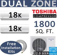 36000 BTU Dual Zone Ductless Mini Split AC - Heat Pump: 18000 x 2 :15ft Lineset