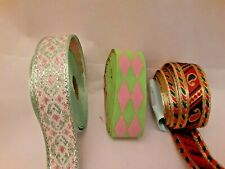 13.25 Yds Green/Pink/Blue/Red Mixed Jacquard Trim 100% Donation 2 Cure K9 Cancer