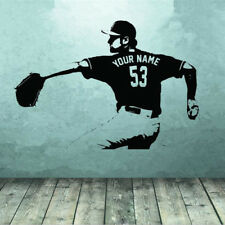 Removable Baseball Player Wall Stickers Custom Name No Home Decor Wallpapers Art