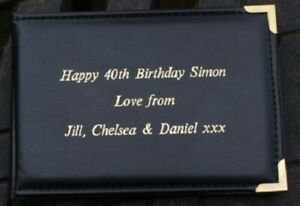 "Personalised Black 6""x4"" Photo Album, Holds 36 Photos. Birthday, Graduation,etc"