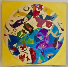 "Unusual ORIGINAL ABSTRACT Painting on canvas- 29"" sq- ""Downey 1965"" on stretcher"