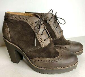 Sperry Emory Women Sz 6.5 Brown Suede Leather Wingtip Ankle Bootie Heel $220 EUC