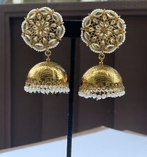 Indian Traditional Bollywood Golden Women's Earrings, Jhumka Jhumki