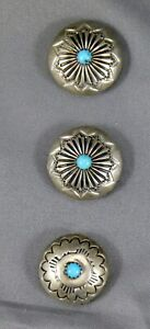 Set of 3 Southwestern Silver Tone Button Covers. Rosette Conchos with Turquoise