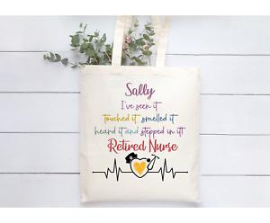 Personalised Beige Natural Tote Bag Retired Nurse Gift Leaving Present Fun