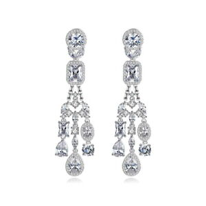 Exquisite Drip Drop All Top Quality Cubic Zirconia Wedding Earrings 2 Colours