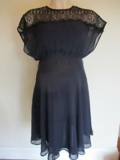 ASOS MATERNITY NAVY CHIFFON & BLACK LACE OCCASION PARTY FORMAL DRESS SIZE 6