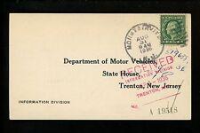 US Postal History Scott #498 Card 1936 Mountain View NJ DPO to DMV Trenton NJ