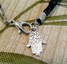 Evil Eye Kabbalah Fatima Hamsa Hand Black Braided Lucky Leather Wrist Bracelet