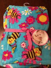 NWTs Boys BEES Northpoint Baby Blanket Soft Plush Fleece Polyester Sz 30x40 Bugs