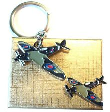 Gift Boxed WW2 Spitfire RAF Fighter Aircraft Metal Keyring & Enamel Badge Set