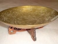 Ornate Brass Tray Hand Carved Wood Stand Oriental Display Coins Jewelry Trinket