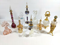 Art Glass Perfume Bottles Lalique, Waterford, Mouth Blown, jeweled - Lot Of 14