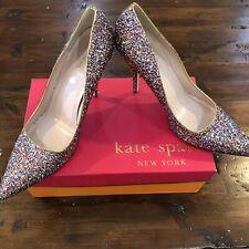 Kate Spade NEW Rainbow Glitter Heels Size 10 Licorice Too Pump Multi Glitter NIB