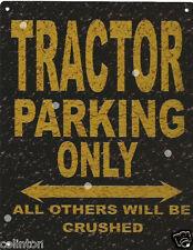TRACTOR PARKING METAL SIGN RUSTIC VINTAGE STYLE6x8in 20x15cm garage WORKSHOPART